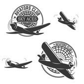 Set of aviators club labels Planes icons Avia club emblems Aeroplane trips Aviators club logo Design elements in vector