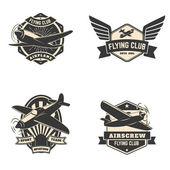 Set of flying club labels and emblems Aviation labels Planes icons Design elements in vector