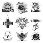 Set of the boxing club labels emblems and design elements