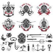 Born to dive Set of vintage diver helmets diver label template