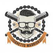 Ghetto warrior Skull with moustache and sunglases Design eleme