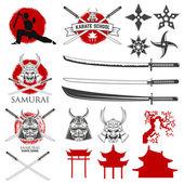Set of karate school labels emblems and design elements Katana