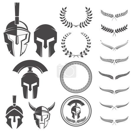 Illustration pour Ensemble de casques de guerriers spartiates et des éléments de conception pour les emblèmes créent. Eléments de design pour logo, étiquette, emblème, signe. Illustration vectorielle . - image libre de droit