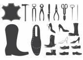 Shoes repair design elements Leather workshop Set of shoemaker