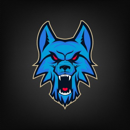 Illustration for Template of logo with angry wolf head. Emblem for sport team. Mascot. Design elements for logo, albel, emblem, sign. Vector illustration. - Royalty Free Image