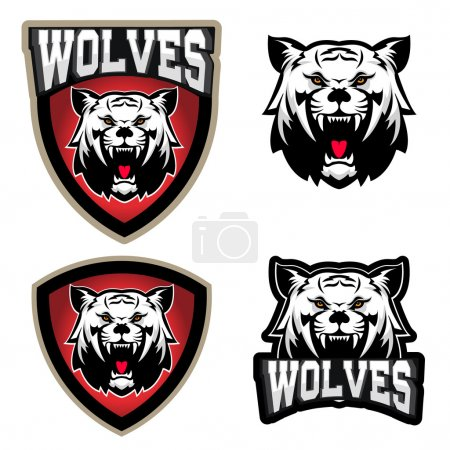 Wolf illustration. Angry Wolves, sport club or team emblem templ