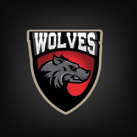Illustration for Wolves. sport team emblem. Design element for logo, label, emblem, sign.  Vector illustration. - Royalty Free Image