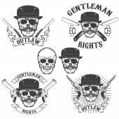 Set of  gangsta skulls isolated on white background Design elem