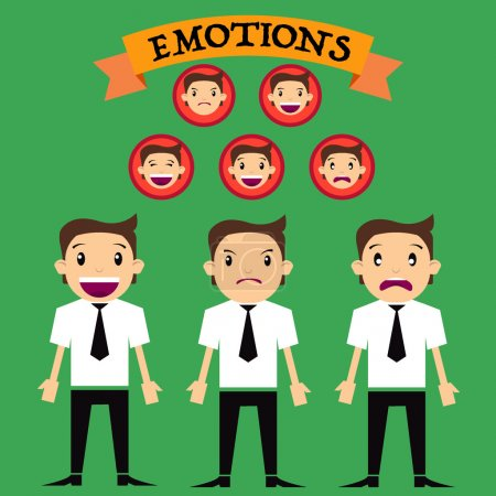 Illustration for Character cartoon different emotions - Royalty Free Image