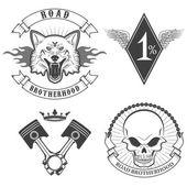 Set of the biker labels in vector