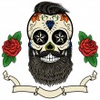 Bearded skull. Sugar skull with beard. Day of deat...