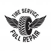 Tire service label  Vector illustration