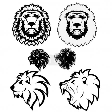Set of vector lions