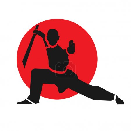Illustration for Master of wushu with sword. LOgo design template. Vector illustration. - Royalty Free Image