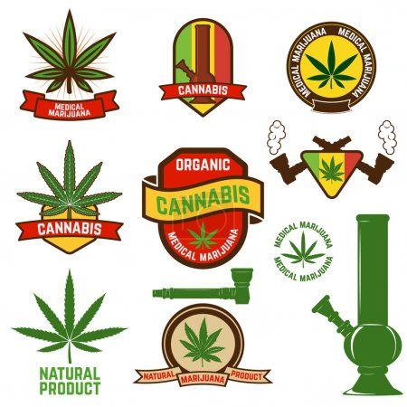 Illustration for Set of cannabis labels and badges. cannabis leaf decorative jamaican style stamps. Medical marijuana. Label or badge design template. - Royalty Free Image