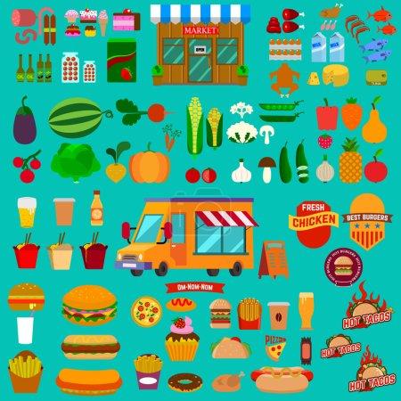 Photo pour Grand ensemble d'icônes de la nourriture. Camion alimentaire. Marché. De la malbouffe. Restauration rapide. aliments sains - image libre de droit
