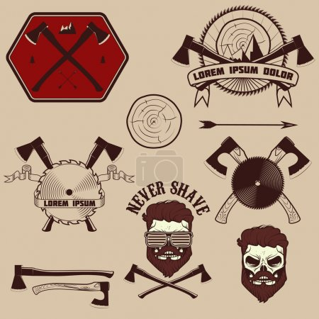 lumberjack emblems set