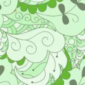Návrhový vzor bezešvé. Abstraktní zelené listy. Ručně kreslenou pozadí