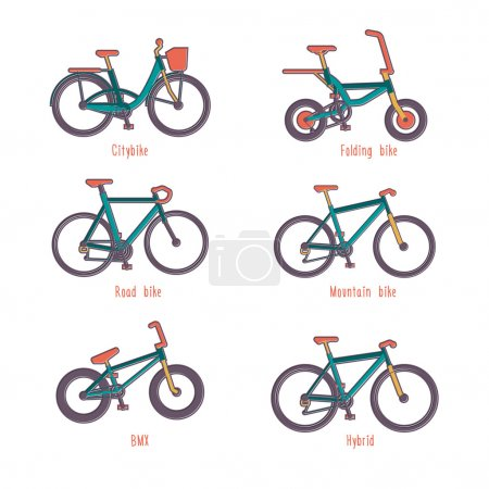 Set of illustrations different types bicycles