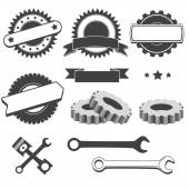 Set to create a logo badge emblem or logotype element for mechanic garage car repair auto service