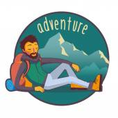 Happy bearded traveler with backpack lying on rest with mountains background
