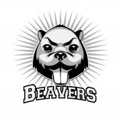 Beaver logo black and white head