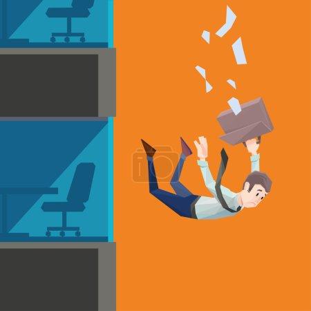 Man in office wear falls from a building