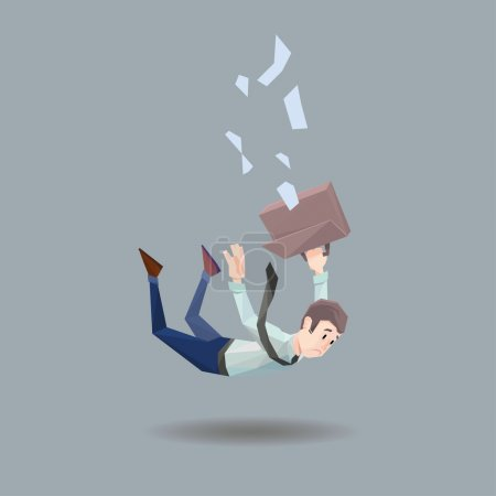 Man in office wear falls from a building on flat gray background