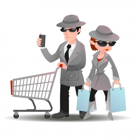 Mystery shopper man with shopping cart phone and woman bag in spy coat