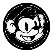 Vintage cartoon Smiling retro cartoon monkey character in black circle