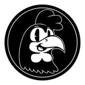 Vintage cartoon Smiling retro cartoon rooster character in black circle