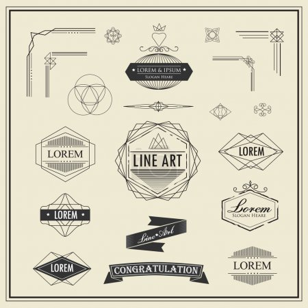 Set of retro vintage linear thin line art deco design elements g