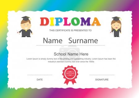 Illustration for Preschool kids elementary school diploma certificate design template background - Royalty Free Image