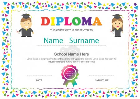 Preschool kids diploma certificate elementary school design temp