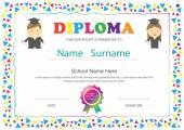 Bambini in età prescolare diploma certificato scuola elementare design temp