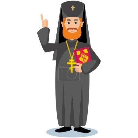 Illustration pour Prêtre orthodoxe avec bible et croix - image libre de droit