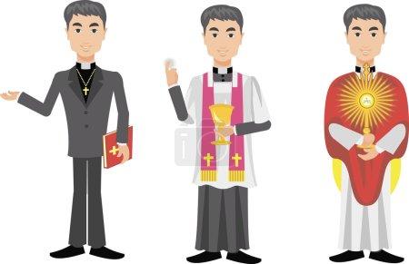 Illustration pour Prêtre catholique romain plat - image libre de droit
