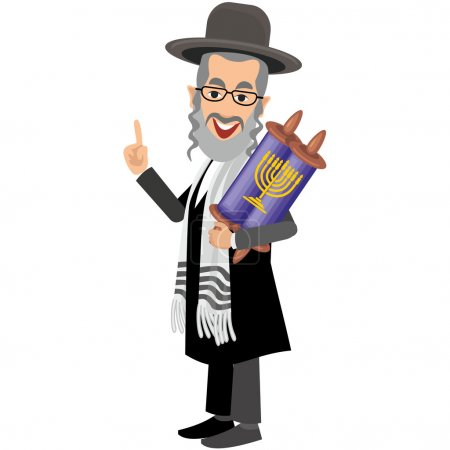 orthodox jew,hassid,rabbi,with Payot and  torah
