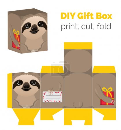 Adorable Do It Yourself DIY sloth gift box for sweets, candies, small presents. Printable color scheme. Print it on thick paper, cut out, fold according to the lines