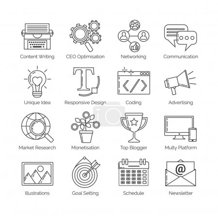A set of flat thin line icons on white background for successful blogging business. It includes: newsletter, social, seo, content writing, design, coding, idea, etc.