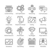 A set of flat thin line icons on white background for successful blogging business It includes: newsletter social seo content writing design coding idea etc