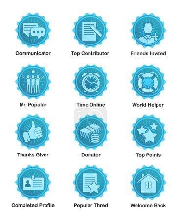Blue achievement badges for web, apps, blogs, forums