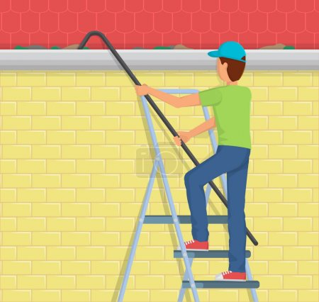 Man Cleaning rain gutter on a ladder