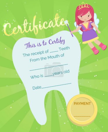 Tooth Fairy receipt certificate template