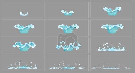 Illustration pour Eau goutte à goutte effet spécial fx animation cadres sprite feuille. Images d'éclatement de goutte d'eau claire pour l'animation flash dans les jeux, la vidéo et le dessin animé . - image libre de droit