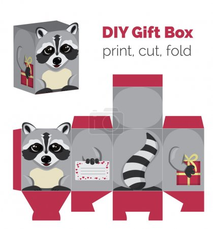 Adorable Do It Yourself raccoon gift box with ears for sweets, candies, small presents. Printable color scheme. Print it on thick paper, cut out, fold according to the lines.