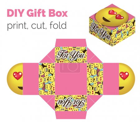 Lovely Do It Yourself DIY in love expression gift box for sweets, candies, small presents. Printable color scheme. Print it on thick paper, cut out, fold according to the lines.