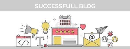 Illustration pour Vector plate mince ligne en-tête bannière illustration de la façon de mettre en place un blog star 5 réussi. Il comprend : bulletin d'information sociale, référencement, contenu rédaction, conception, codage, idée, etc. - image libre de droit