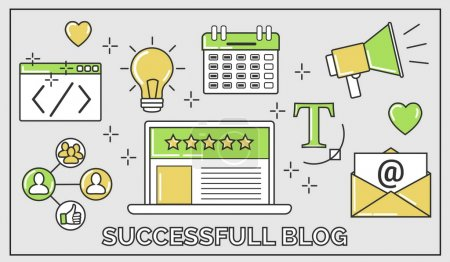 Flat vector thin line illustration of how to establish a successful 5 star blog. It includes: newsletter, social, seo, content writing, design, coding, idea, etc.