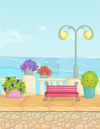Sunny cartoon seafront landscape, vector seaside background. Stone fence, plants, flowers, benches, paving.